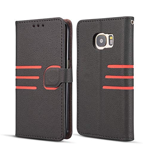 DEFBSC Samsung Galaxy S7 Edge Streifen Hülle, Premium Leder Tasche Flip Wallet Case mit Standfunktion Kartenfächern, PU-Leder Schutzhülle Handyhülle für Samsung Galaxy S7 Edge- Schwarz