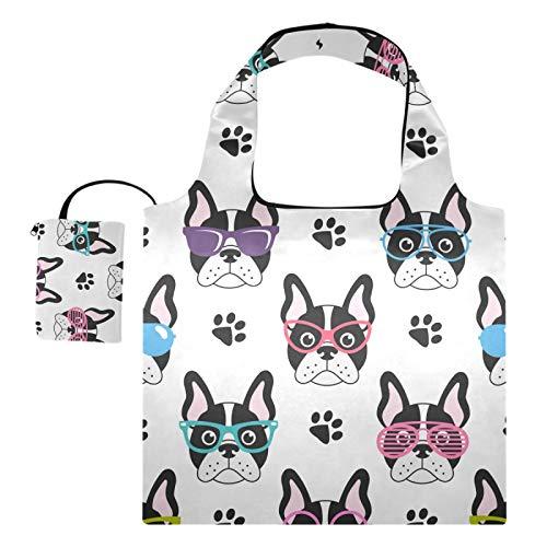 Bolsas reutilizables para la compra – Lindo francés Bulldogs gafas plegables bolsa grande portátil de reciclaje con bolsa