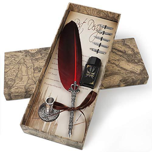 Penna stilografica Penna d'oca Penna calligrafica, set penna stilografica, con inchiostro, 5 pezzi di piume, bel regalo per la scrittura e la decorazione (Size1)