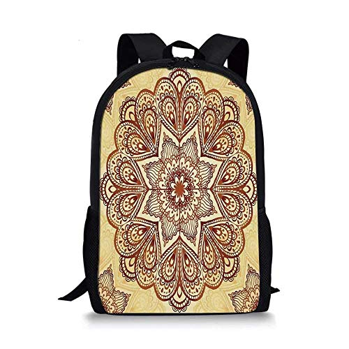 AOOEDM Mandala Elegante Bolso Escolar, patrón de Forma Circular de Mandala Floral, Imagen de símbolo Espiritual de Estilo Vintage para niños, 11