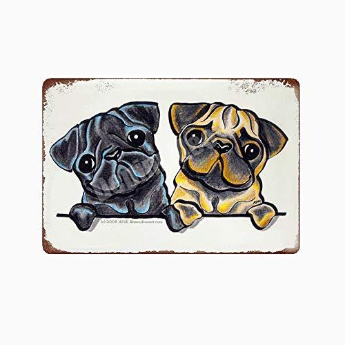 Yycsqy IJzeren schilderij tinnen metaal schilderij vintage metaal wandkunst metalen platen plak huisdier hond plaque Home bar garage metalen platen paard muursticker 30*20cm Ap68