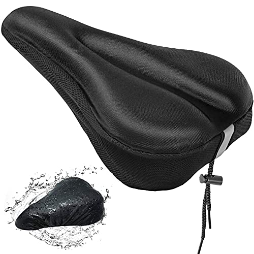 ATTABIKE Bike Seat Cushion With Waterproof Cover, Soft Non Slip Gel Bike Seat Cover With Reflective Strips, Spinning Comfortable Bike Seat Cover Padded for Mountain, Road Exercise and Cruiser Bikes