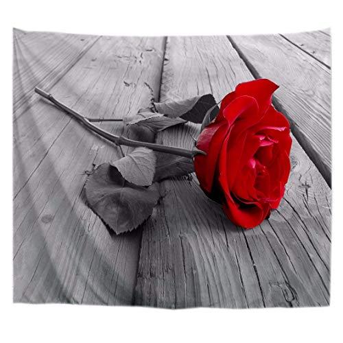A.Monamour Tapices Romántica Rosa Roja En Tablones De Madera Grises Suelo En Blanco Y Negro Fondos De Arte De Tela Tapiz Colgando De La Pared Decoración De Arte De La Pared Mantel Colcha 153x203cm