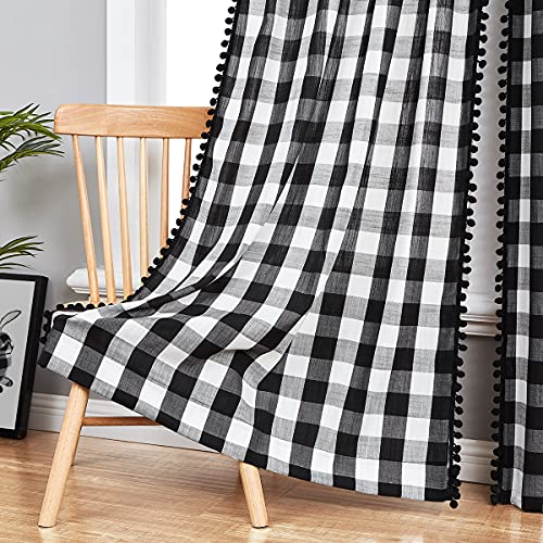 """White Black Buffalo Check Curtains for Living Room 84"""" Gingham Plaid Pom Pom Curtain Panels for Bedroom Vintage Farmhouse Semi Sheer Curtain Drapes for Kitchen Dorm Guest Room Rod Pocket 2pcs"""