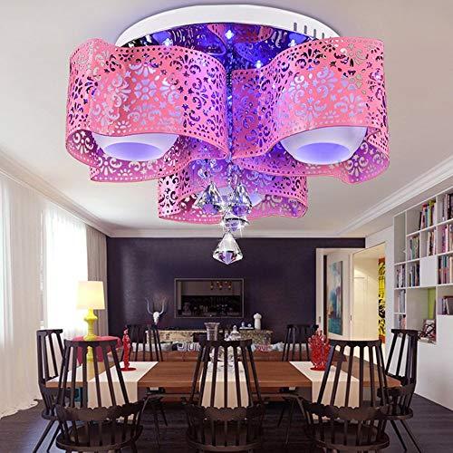 Plafonnière, moderne LED, eenvoudig, romantisch, van kristal, rond, smeedijzeren lamp, slaapkamer, eetkamer, woonkamer, plafondlamp (kleur, grootte naar keuze)