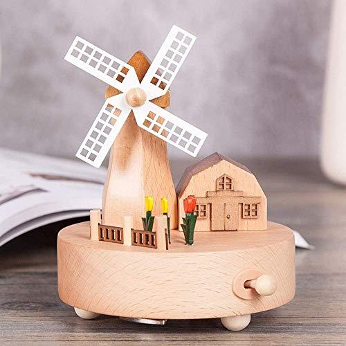 zhipeng Casa en movimiento Molino de viento Música Bo Muebles para el hogar Regalos Adornos Regalo de cumpleaños 11cm11cm16cm hsvbkwm