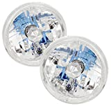 Universal H6014 H6015 H6024 7' Round H4 Conversion Headlights Chrome with Halo Ring