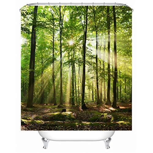 X-Labor Pflanzen Motiv Duschvorhang Wasserdicht Stoff Anti-Schimmel inkl. 12 Duschvorhangringe Waschbar Badewannevorhang 240x200cm Muster-D