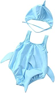 MORE4EVER Baby Toddler Shark One Piece Swimsuit Bathing Suit Swimwear Sunsuit W/Cap for Girls Boys
