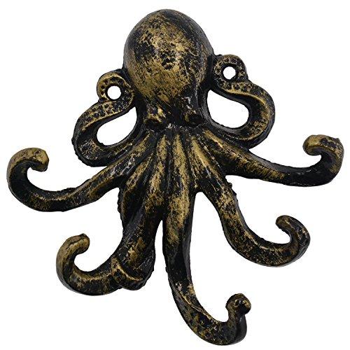 Med-Style Octopus Schlüssel Haken Antik Bronze Gusseisen dekorative Wandhaken