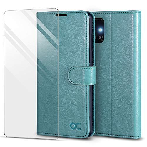 OCASE Hülle für Samsung Galaxy A51 Handyhülle [Panzerglas Schutzfolie] [Premium PU Leder] [Kartenfach] Flip Hülle Cover Schutzhülle Etui kompatibel mit Samsung Galaxy A51 Klapphülle 6,5'' Minzgrün
