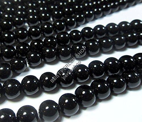Filo di pietre semipreziose con perle nere lucide e opache di onice, 4/6/8/10 mm, pietra, Nero , 4mm Rund Poliert