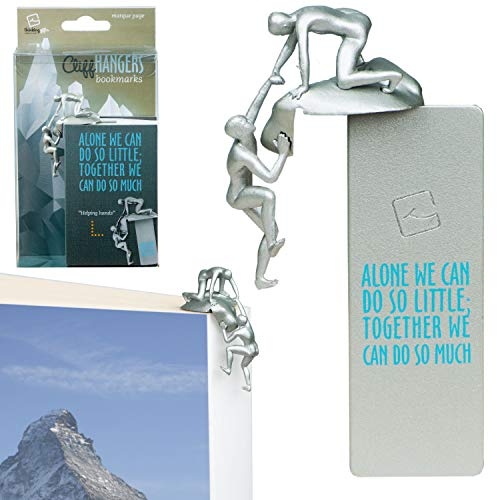 Gifts for Readers & Writers Cliffhangers Segnalibro Idea Regalo Originale Cliff Hanger Scalatore Citazione Motivazionale Segna Pagine Libro – Aiuto (Argento)