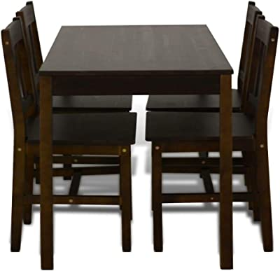 fe5fcce535 5 Piece Dining Set Table and 4 Chairs Wooden Home China Retor Breakfast  Furniture Kitchen Table