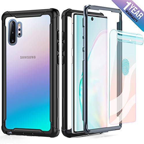 FITFORT Samsung Galaxy Note 10 Plus Case Full Body Rugged Heavy Duty Clear Bumper Case with Free Screen Protector, Shock Drop Proof Protective Case Compatible with Galaxy Note 10+ Plus (2019)