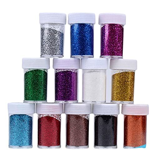 WGFGQX Glitter Polvo Lentejuelas Oro Plata Plata láser Plateado Mascota Protección Ambiental a Mano.Bricolaje Materiales de decoración 12 Colores. FQYXLX (Color : 12 Colors in a Box)