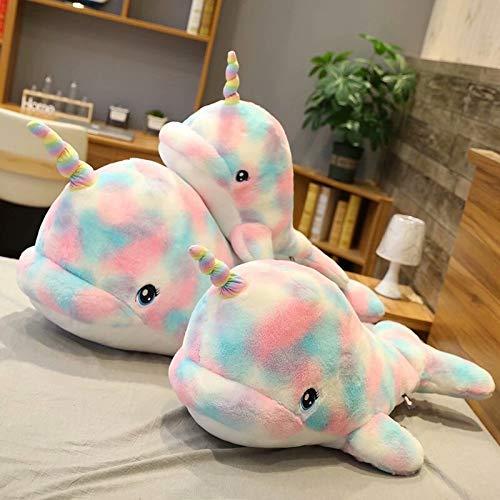 De nieuwe kleur narwalwalvis schattige pluchen speelgoed pop kussen queen size pop gift Plush toys (Color : Colorful, Size : 90cm)