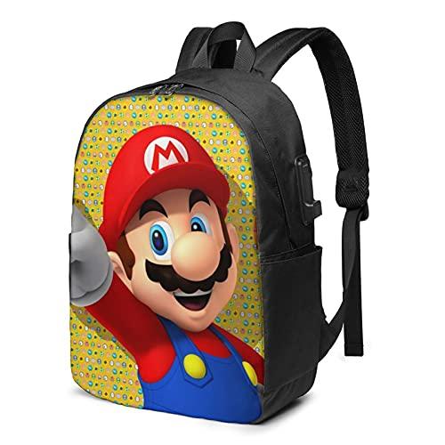 Juego de dibujos animados Super Mario USB Mochila de 17 pulgadas grande para ordenador portátil para hombres mujeres adolescentes carga USB/auriculares puerto escuela secundaria viaje día