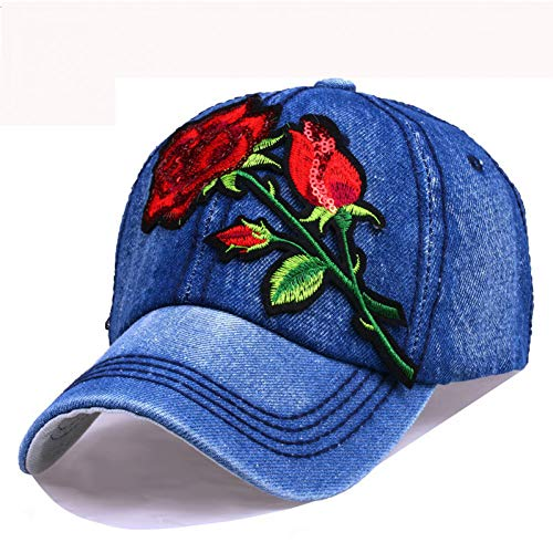 Fnito Gorra de béisbol para mujer, gorra vaquera con bordado de rosas, parche Jean Snap Back ajustable,...