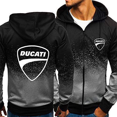 Männer Sweatshirt Jacke Für Ducati Print Gradienten Sweatshirt Baseball Uniform Langarm Casual Sport Breasted Track Und Feldjacke-Jugendgeschenk,Black,XL