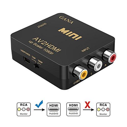 RCA a HDMI, GANA AV a HDMI Convertidor de Video Soporte 1080P...