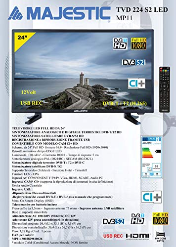 Majestic tvd 224-s2 LED televisore LED Full HD da 24'