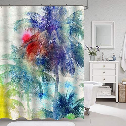 VVA Palmen-Duschvorhang, Retro-Aquarell-Silhouetten von Palmen auf tropischem Paradies-Thema, Stoffstoff, Badezimmer-Dekor-Set mit Haken, 183 cm lang, Sepia Violett