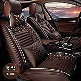 Surekit Custom Car Seat Cover for RAM 1500 2500 5-Seat Car Seat Cushion Cover Full Set Needlework PU Leather Luxury Set (Brown)