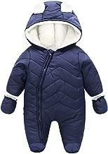 JanLEEsi Baby Boy Girl Winter Hooded Snowsuit Romper Zipper Padding Bodysuit Infant Puffer Jacket with Gloves 3-24 Months