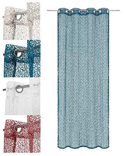 wometo Vorhang Gardine Schal in Ösen Netz- Strick-Optik 140x245 cm - Petrol blau türkis einfarbig gehäkelt transparent/halbtransparent (in vielen Farben)