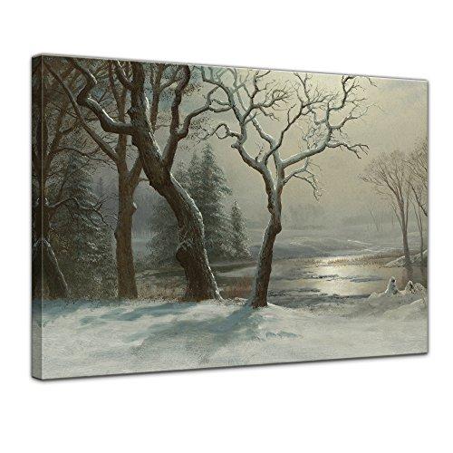 Leinwandbild Albert Bierstadt Winter in Yosemite - 70x50cm quer - Wandbild Alte Meister Kunstdruck Bild auf Leinwand Berühmte Gemälde