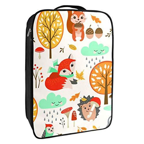 Schuh-Aufbewahrungsbox für Reisen und den täglichen Gebrauch, Fuchs, Eichhörnchen und Igel, Schuh-Organizer, tragbar, wasserdicht bis zu 12 Meter, mit doppeltem Reißverschluss und 4 Taschen