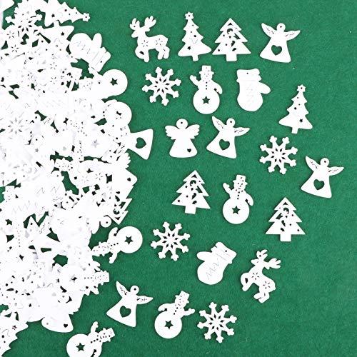 VINFUTUR 100pcs Adornos Navidad Madera 8 Figuras Mixtas Piezas Madera Blanco de Árbol Rebanadas Pequeñas Madera Navidad Colgantes Accesorios para Decoración Scrapbooking Fiesta DIY