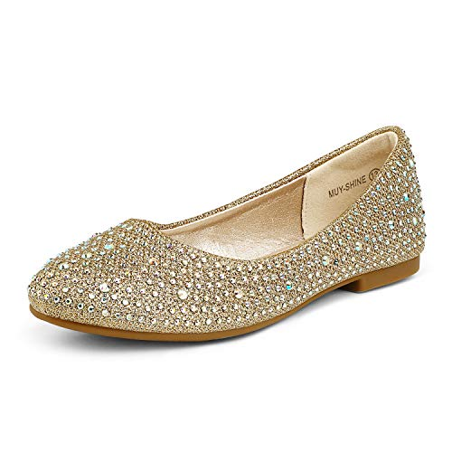 DREAM PAIRS Big Kid Muy-Shine Gold Glitter Girl's Mary Jane Ballerina Flat Shoes - 4 M US Big Kid