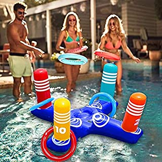 Inflatable Pool Ring Toss Pool Game Toys Floating Swimming Pool Ring with 4 Pcs Rings for Multiplayer Water Pool Game Kid ...