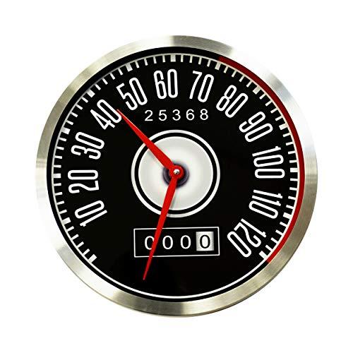 Wandklok zonder tikkend geluid mannen jongens kinderen creatieve geschenken geruisloos vintage horloges zoals de snelheidsmeter in Ford Mustang Retro radiografische wandklok voor kantoor thuis wandkunst aluminium diameter 30 cm