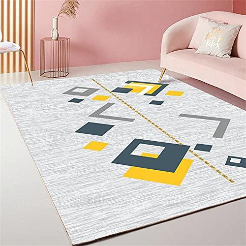 Decoration Maison Salon Moderne Tapis De Sol Salon Conception Graphique géométrique Moderne Jaune Gris Bleu Tapis Jeu Enfant 80X120cm
