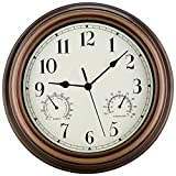 SecreShow 12 Inch Indoor Outdoor Wall Clock Waterproof with Temperature and Humidity Combo,Battery Operated Non Ticking Silent Clock Wall Decorative
