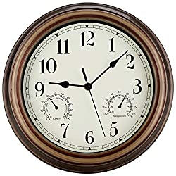 12 Inch Indoor Outdoor Wall Clock Waterproof with Temperature and Humidity Combo,Battery Operated Non Ticking Silent Clock Wall Decorative