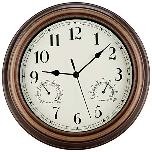 SecreShow 12 Inch Indoor Outdoor Wall Clock Waterproof