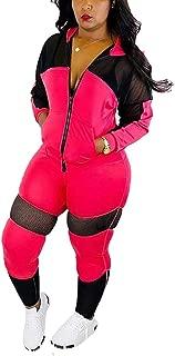 Women's 2 Piece Outfits - Mesh Patchwork Sweatsuits Hoodie Zip Up Long Sleeve Jacket Skinny Long Pants Tracksuit Set