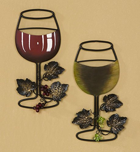 Tripar Wall Metal Wine Art - Red Wine / White Wine Glass Set of 2 - Home Bar Wine Decor - Great Gift for Wine Lover!