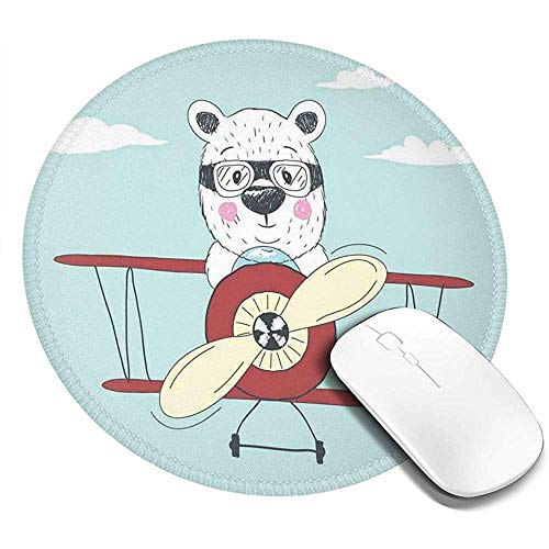 Ronde muismat, met de hand getekend pilootbeer vliegt een vliegtuig in open lucht grappig kinderachtig cartoon, antislip gaming muis mat