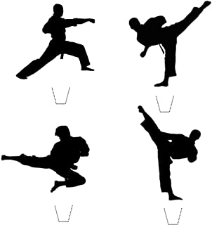 12 x Novelty Karate TaeKwondo Martial Arts Silhouette Mix Edible Standup Wafer Paper Cake Toppers