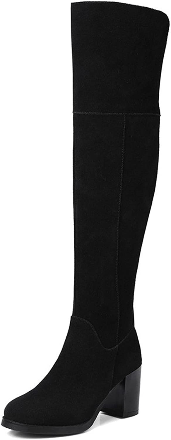 Nine Seven Suede Leather Women's Round Toe Chunky Heel Comfort Casual Work Handmade Over The Knee Boots