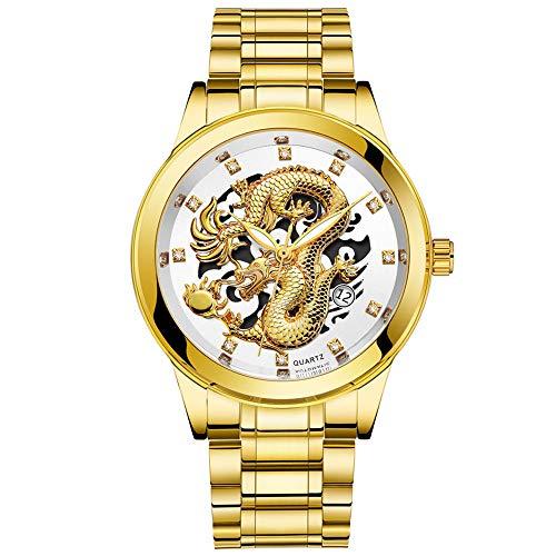 Herren Uhren,Kristall Dial Quarzuhr Datumsanzeige Display Uhr Edelstahl Wasserdicht Armbanduhr Gold Drachen Skulptur Watch Proumy (White)