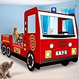 Lit enfant design camion pompier Lit pour enfants avec sommier à lattes inclus - 205x94,5x103cm
