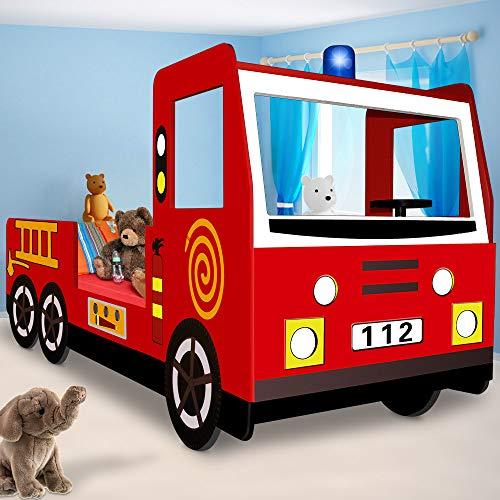Feuerwehrbett inkl. Lattenrost - Autobett Kinderbett Jugendbett Bett