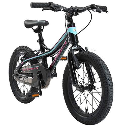 BIKESTAR Kinder Fahrrad Aluminium Mountainbike mit V-Bremse für Mädchen und Jungen ab 4-5 Jahre | 16 Zoll Kinderrad MTB | Schwarz & Blau
