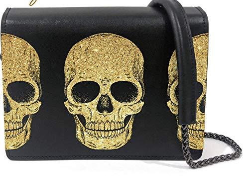 Genuine Leather Black Crossbody Bag for Women Messenger Handbag Wallet Shoulder Purse with Printed Design - Gold - Regular